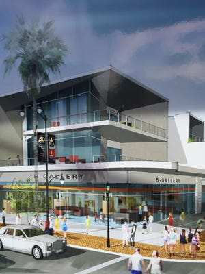 An architect's sketch of the intersection of Alejo Road and Palm Canyon Drive where a new 150-room hotel and mixed-use development is planned for downtown Palm Springs.
