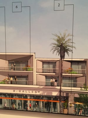 An architect's sketch of the Palm Canyon Drive retail section of a new mixed-use hotel project planned for Palm Springs.