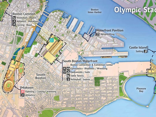 The sites of proposed Olympic event venues are seen