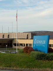 Schuyler Hospital is located above and west of the