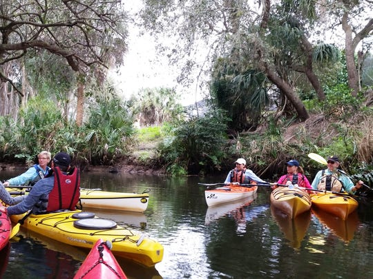 A group of kayakers gather on the Estero River during a guided tour put on by the nonprofit College of Life Foundation to hear about the history of the area on Tuesday, Jan. 5, at Koreshan State Historic Site.