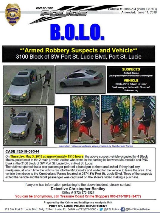 Port St. Lucie police said they're looking for four black men who are armed robbery suspects.