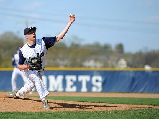 Penn Manor's Grant Gale (36) rifles a fastball towards homeplate against Warwick at Penn Manor High School on April 24, 2015. Patrick Blain for GameTimePA.com