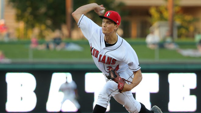 FILE -- Indianapolis Indians pitcher Tyler Glasnow fires a pitch during their game against the Columbus Clippers Clippers on Thursday, September 17, 2015.