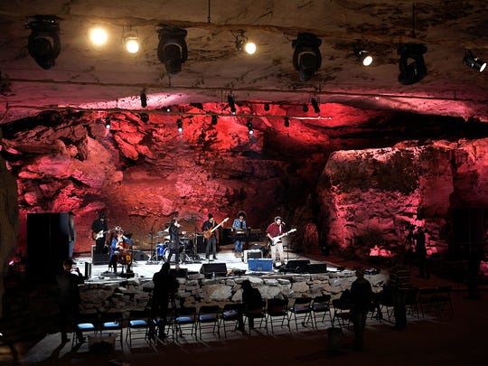 Cuban band the Sweet Lizzy Project rehearses at The Caverns, the home of the Bluegrass Underground, on March 22. The cave concert venue is at the base of Monteagle Mountain in Pelham, Tenn.