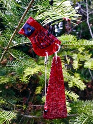 Glass cardinal ornament by Laurel Grey, part of the
