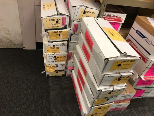 Boxes in the Maricopa County Recorder's Office contain
