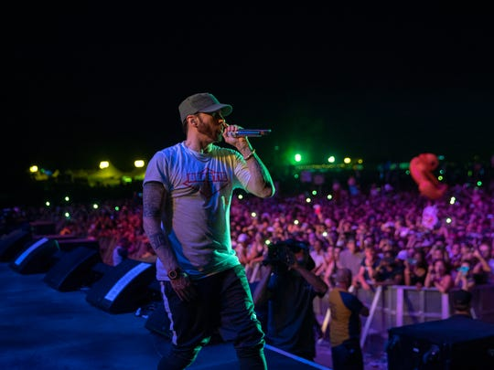 Eminem performs at Firefly Music Festival on June 16, 2018 in Dover.