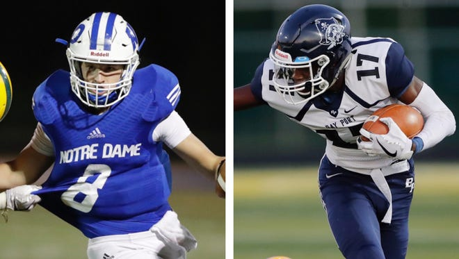 Left: Notre Dame's Wes Glime. Right: Bay Port's Cordell Tinch.