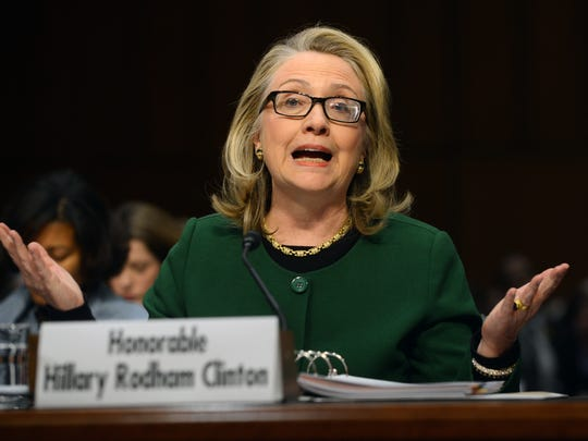 Then-Secretary of State Hillary Clinton testifies before