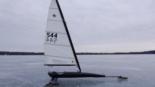 The Nite Class ice boat owned by Mike Peters of Sturgeon Bay.
