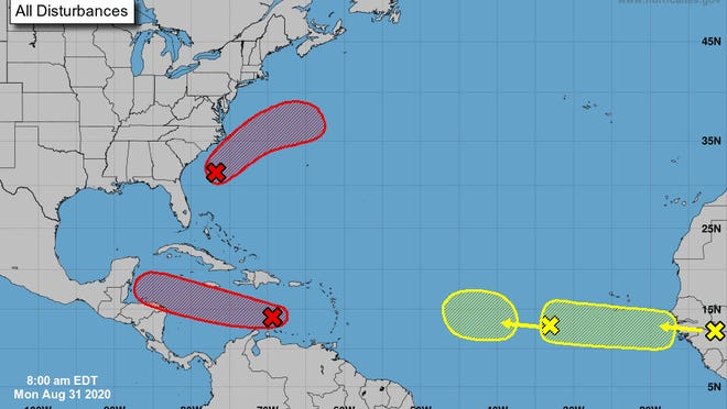 Forecasters are watching four separate areas for possible tropical development in the Atlantic Basin this week.