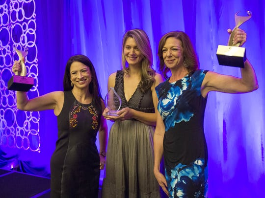 Mi-Ai Parrish (from left), Drena Kusari Berisha and
