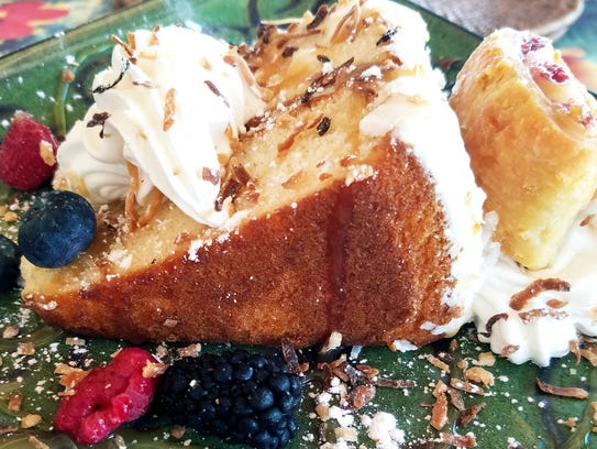 Flash Beach Grille's coconut cake was a large, iced
