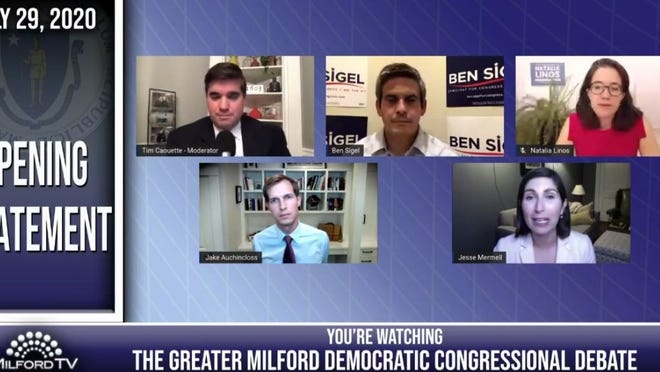 The moderator and the four candidates who participated in the second hour of Wednesday night's debate for Democrats running for the 4th Congressional District seat being vacated by U.S. Rep. Joseph Kennedy III, who is running for U.S. Senate. Clockwise, from top left, are moderator Tim Caouette and candidates Ben Sigel, Natalia Linos, Jesse Mermell and Jake Auchincloss.