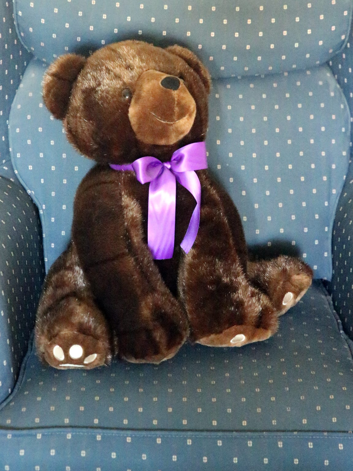 A stuffed bear on a chair in the Haskins home.