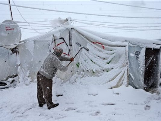 Mideast Lebanon Syrian Refugees Weather