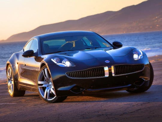 Fisker's rakish Karma, shown here in a 2012 company