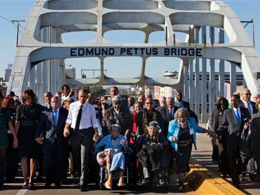 Barack Obama, Michelle Obama, Sasha Obama, Sasha Obama, Amelia Boynton Robinson, John Lewis