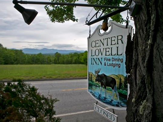 The Center Lovell Inn's roadside sign is seen Friday,