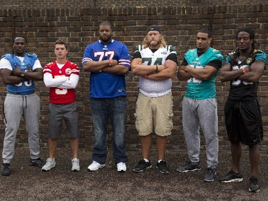The players promoting the NFL's International Series games in London are, from left, Lions running back Joique Bell, Kansas City Chiefs kicker Cairo Santos, Buffalo Bills offensive tackle Cordy Glenn, New York Jets center Nick Mangold, Miami Dolphins defensive end Olivier Vernon and Jacksonville Jaguars safety Sergio Brown.