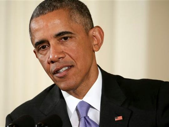 President Barack Obama speaks during a news conference in the East Room of the White House in Washington, Wednesday, July 15, 2015. The president rejected the idea of revoking Bill Cosby's Presidential Medal of Freedom because of sexual misconduct allegations. Obama said there's no precedent or mechanism to take back the medal. He declined to talk about the specific allegations against Cosby because there are pending legal matters.