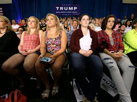 Audience members look on as Republican presidential candidate Donald Trump speaks during a rally, Tuesday, Aug. 25, 2015, in Dubuque, Iowa.