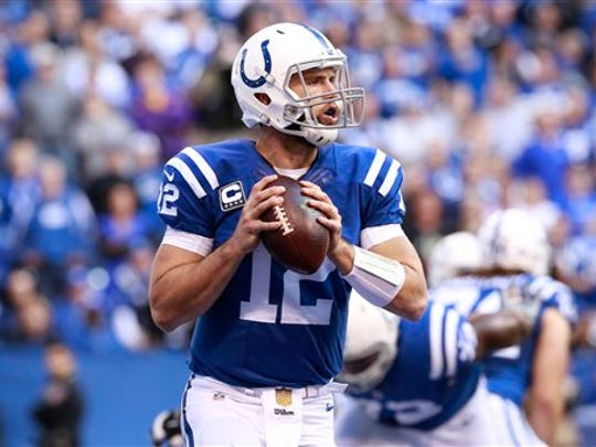 Indianapolis Colts quarterback Andrew Luck (12) in the second half of an NFL football game against the New Orleans Saints in Indianapolis.