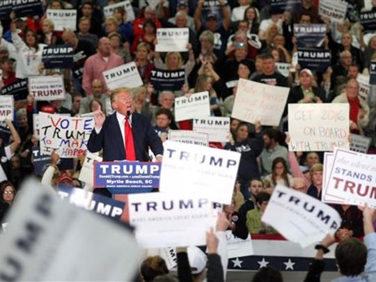Republican presidential candidate Donald Trump speaks during a campaign event at the Myrtle Beach Convention Center on Tuesday, Nov. 24, 2015, in Myrtle Beach, S.C.