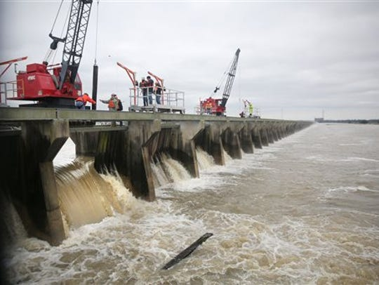 The U.S. Army Corps of Engineers opened the Bonnet Carre spillway last week for the third time in four years. This is a 2016 file photo of the open spillway.