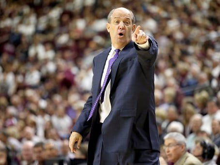 Vanderbilt head coach Kevin Stallings reacts as his team takes the ball inbounds against Texas A&M on March 5, 2016, in College Station, Texas.
