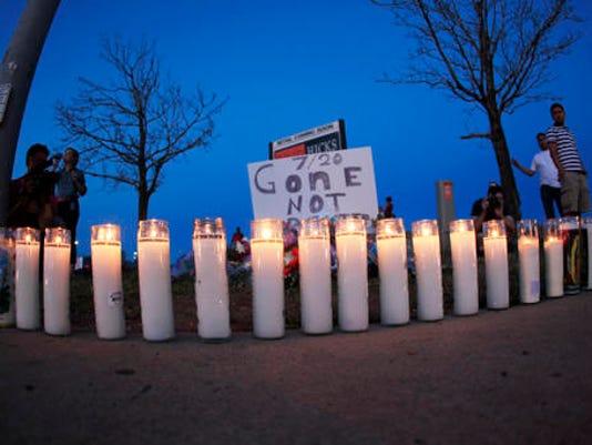 Candles at makeshift memorial