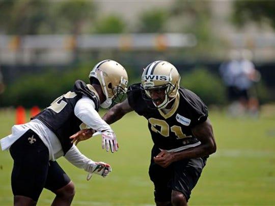 New Orleans Saints safety Alden Darby (42) goes through