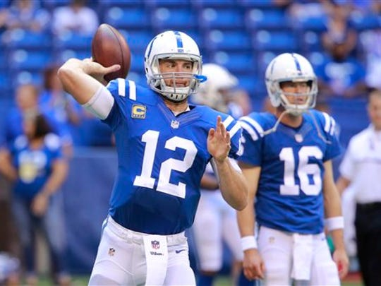 Indianapolis Colts quarterback Andrew Luck (12) before