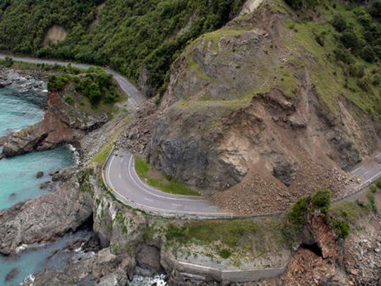 A landslide covers a section of state highway 1 near