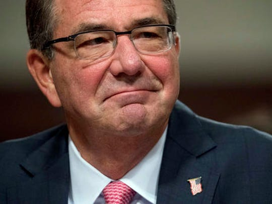 In this Sept. 22, 2016, file photo, Defense Secretary Ash Carter testifies on Capitol Hill in Washington. The Obama administration was announcing its support for requiring women to register for the military draft.