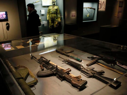 Real-life spy gadgets and weapons of secret agents around the world are displayed as part of the 'Secret Wars' exhibition at Invalides Museum, in Paris, Monday, Dec. 12, 2016. 'Secret Wars' displays about 400 objects, devices and archives from World War I to the end of the Cold War of French, British, American and German collections, most of which have never been shown before.