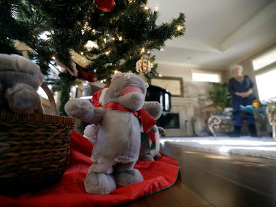 "Gayla Peevey, singer of that enduring Christmas classic, ""I Want a Hippopotamus For Christmas,"" stands behind stuffed animal hippopotamuses under her Christmas tree in her home Wednesday, Dec. 14, 2016, in La Mesa, Calif.  It was 1953, and one of the hottest songs on the radio was   ""I Want a Hippopotamus For Christmas."" Now it's Christmas 2016, and Peevey is still singing. She leaves that to schoolchildren, ringtones, iTunes downloads and TV commercials that, to the 73-year-old singer's amazement, keep the song in everyone's head every Christmas season, whether they want it there or not."