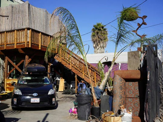 This Dec. 19, 2016 photo shows the exterior of an underground music club known as known as Purple 33 in the Playa Vista neighborhood of Los Angeles. About a week after 36 people died in a fire at an underground music party in Oakland, inspectors acting on a complaint discovered a makeshift nightclub and unpermitted living quarters concealed in a warehouse near Los Angeles International Airport. Authorities searching the drab, two-story building found an illegally constructed dance floor, paired with a bar and DJ booth.