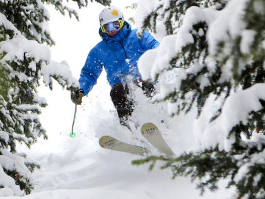 This undated photo provided by Deer Valley Resort in Park City, Utah, shows a skier making his way down a snowy slope through the trees. The luxury resort is a popular destination for stars heading to the annual Sundance Film Festival but it's Deer Valley's untracked snow that advanced skiers prize, with powder stashes in the trees that are about as good as they get.