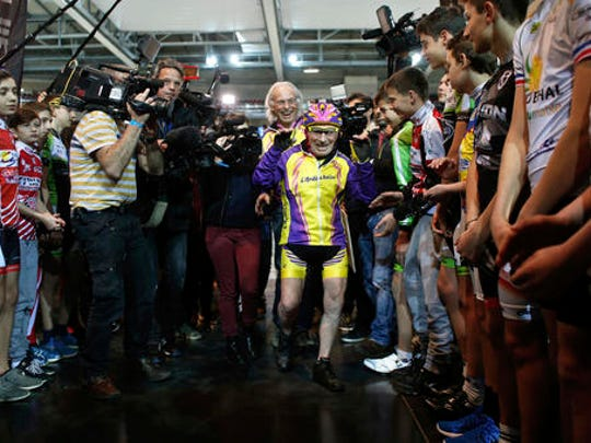 French cyclist Robert Marchand, aged 105, arrives prior