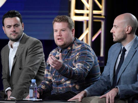 "Ben Winston, from left, James Corden and Eric Pankowski attend ""Carpool Karaoke (series for Apple Music)"" panel at The CBS portion of the 2017 Winter Television Critics Association press tour on Monday, Jan. 9, 2017, in Pasadena, Calif."