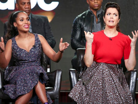 """Kerry Washington, left, and Bellamy Young speak at the """"Scandal"""" panel at the Disney/ABC portion of the 2017 Winter Television Critics Association press tour on Tuesday, Jan. 10, 2017, in Pasadena, Calif."""