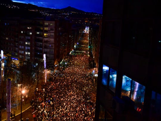 Pro-independence Basque demonstrators march to demand the return to the Basque Country of all prisoners of ETA, the Basque armed group, as they gather on the street during a protest in Bilbao, northern Spain, Saturday, Jan. 14, 2017. The Basque armed group ETA, who killed over 800 people, declared a total cease-fire in 2011.