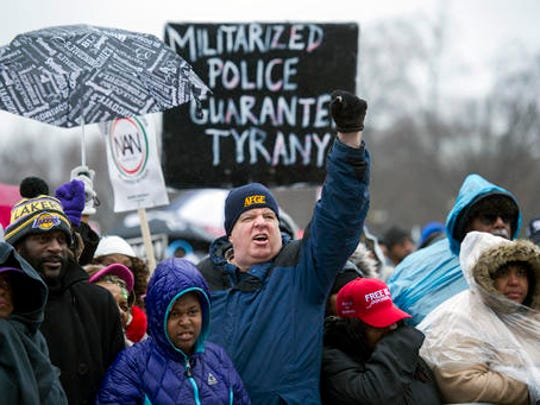 """Civil rights advocates rally to honor the Rev. Martin Luther King, Jr. in Washington, Saturday, Jan. 14, 2017. The National Action Network, the group founded by the Rev. Al Sharpton, is sponsoring Saturday's """"We Shall Not Be Moved"""" march and rally ahead of Monday's Martin Luther King Jr. Day holiday."""