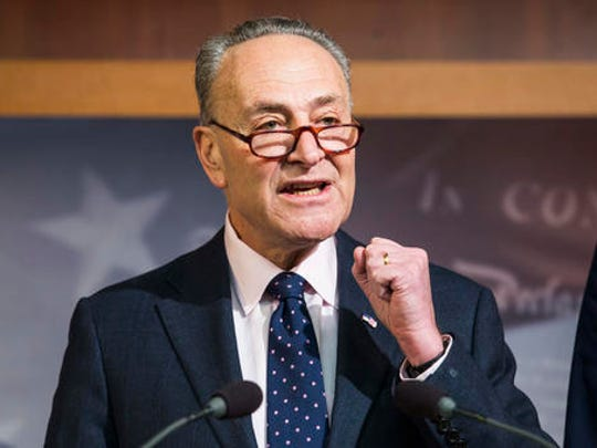 FILE - In this Jan. 5, 2017 file photo, Senate Minority Leader Charles Schumer of N.Y. speaks during a news conference on Capitol Hill in Washington. The inauguration of Donald Trump leaves Democrats facing a stark power deficit, not only in Washington but in states around the country. Republicans control the White House, Congress, almost two-thirds of statehouses and 32 legislatures.  (AP Photo/Zach Gibson, File)