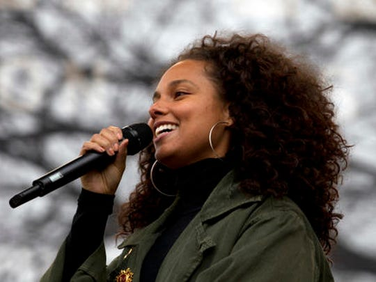 Alicia Keys performs during the Women's March on Washington, Saturday, Jan. 21, 2017 in Washington.