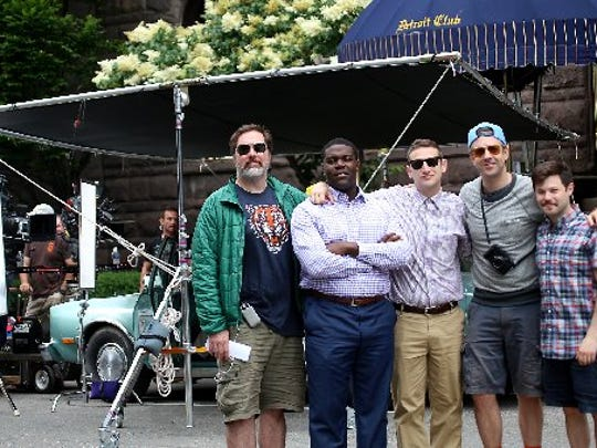 """The cast of the Comedy Central pilot, """"The Detroiters"""" (from the left) Joe Kelly, Sam Richardson, Tim Robinson, Executive Producer Jason Sudeikis, and Zach Kanin stand in front of the historic Detroit Club in downtown Detroit, where they film a scene on Friday, June 12, 2015. Richardson and Robinson are real-life, former Detroiters."""