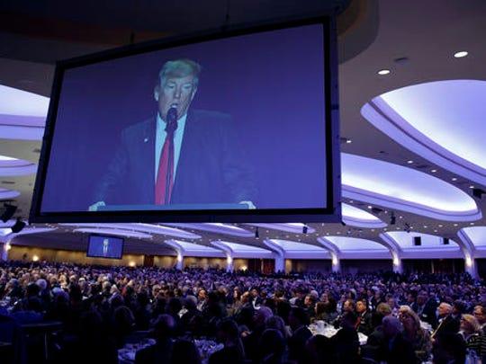 President Donald Trump speaks during the National Prayer Breakfast, Thursday, Feb. 2, 2017, in Washington.