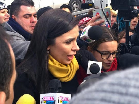 "Emma Coronel Aispuro, wife of Joaquin ""El Chapo"" Guzman, talks with reporters as she leaves Brooklyn federal court following her husband's court appearance, Friday, Feb. 3, 2017 in New York. Guzman is charged with running a massive drug trafficking operation that laundered billions of dollars and oversaw murders and kidnappings."